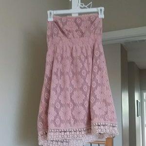 Dresses & Skirts - Pink eyelet lace sleeveless sundress
